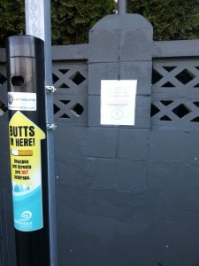 This ash can at 36th Ave W and SW Alaska St. is seeing lots of use and the flyer educates the public about toxicity of butts.